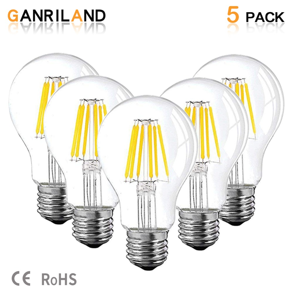 GANRILAND 12V 24V Led Lamp A19 Filament Bulb Low Voltage 6W Edison Globe Bulbs 4500K Daylight White Warm White 2700K E26 E27