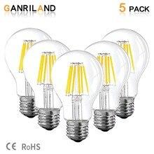 Ganriland lâmpada led de 12v 24v, lâmpada de led a19 filamento, baixa tensão, 6w, globe de edison, 4500k, luz diurna branco quente 2700k e26 e27