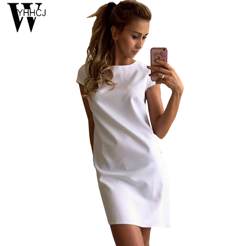 8dfafd1fedb WYHHCJ 2017 о-образным вырезом solid лето dress с коротким рукавом  свободные пов