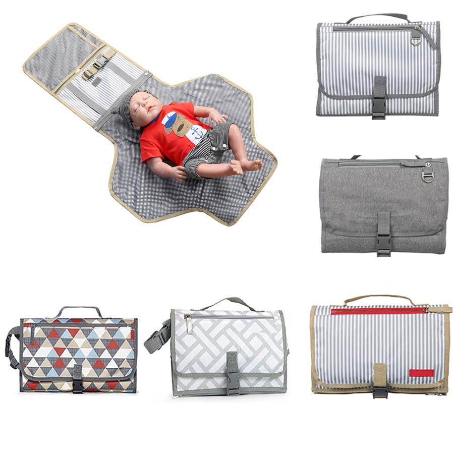 Gray Waterproof Foldable Diaper Changing Pad Infant Cotton Urinal Mat for Home Travel Outside Portable Nappy Change Mat