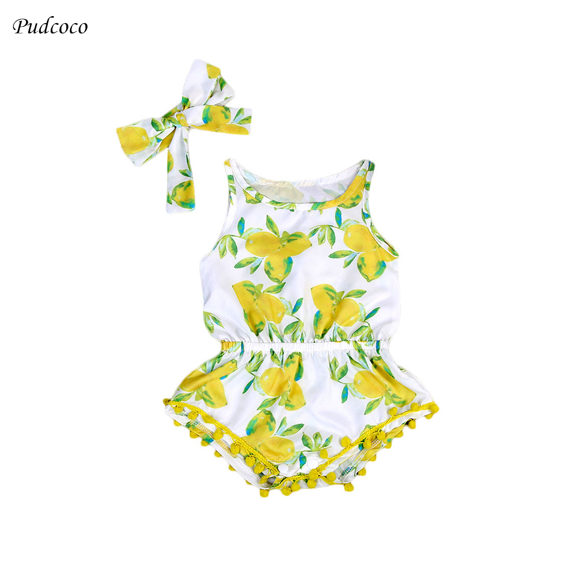 Cute Lemon Print baby clothes Summer Newborn Baby Girl