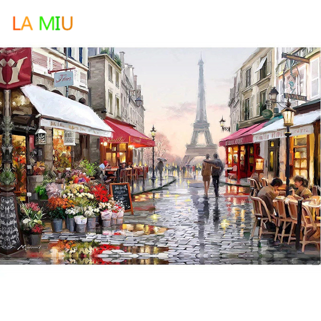 LA MIU 1PC DIY City Street Painting By Numbers Landscape Handpainted Canvas Paintings  Home Wall Art Digital Drawing Unique Gift