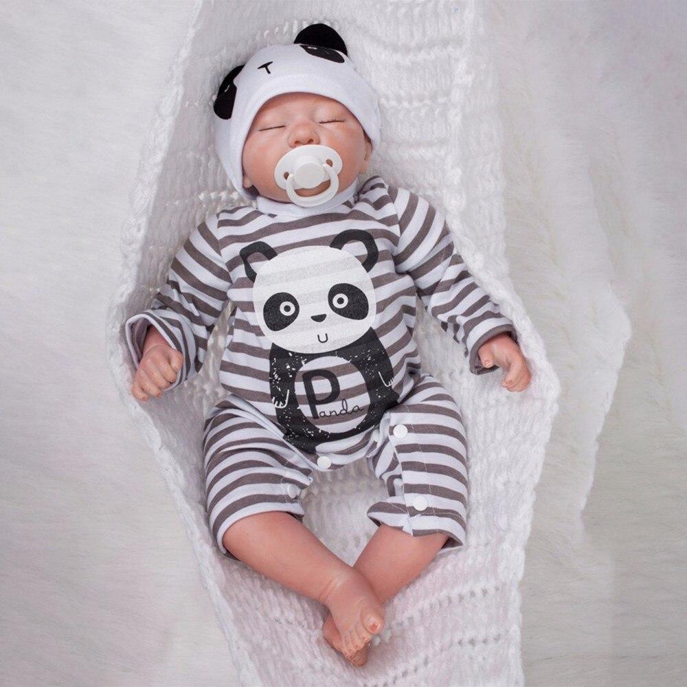 Lebensechte Bebes Reborn Baby Puppen 19 zoll 50 cm Vinyl Körper Silikon Reborn Baby Puppe Druck Panda Kleidung Mädchen Jungen weihnachten Geschenke