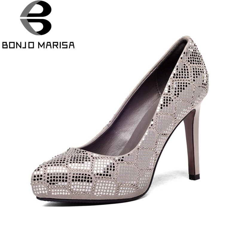BONJOMARISA 2018 Spring Autumn Bling Crystal Praty Wedding Genuine Leather Women Pumps High Heels slip-on Shallow Shoes Woman superstar genuine leather bling crystal slip on women pumps wedding preppy style office lady thick high heels brand shoes l0f1