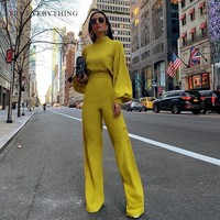 Elegant Boho Jumpsuit Women Summer 2019 Long Sleeve Yellow Jumpsuit Trousers Female White Black Long Jumpsuit For Women Rompers