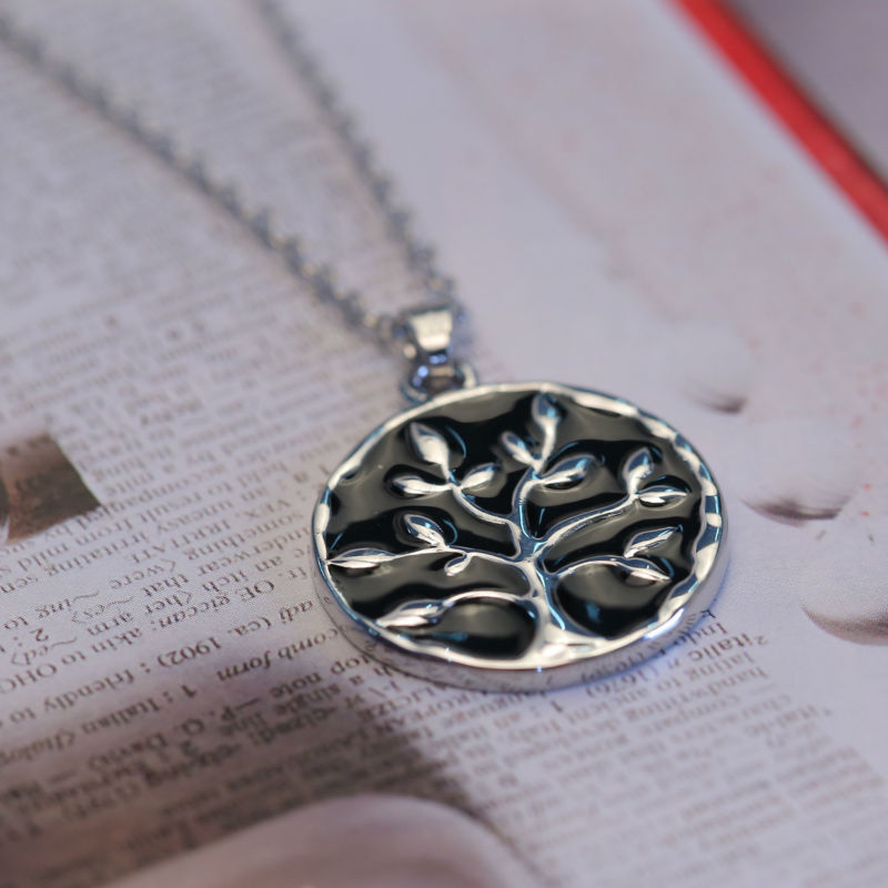 Bespmosp Family Life Art Tree Necklace Pendant Chain Charm Trendy Jewelry Silver Plated Fashion For Women Men Engrave Special