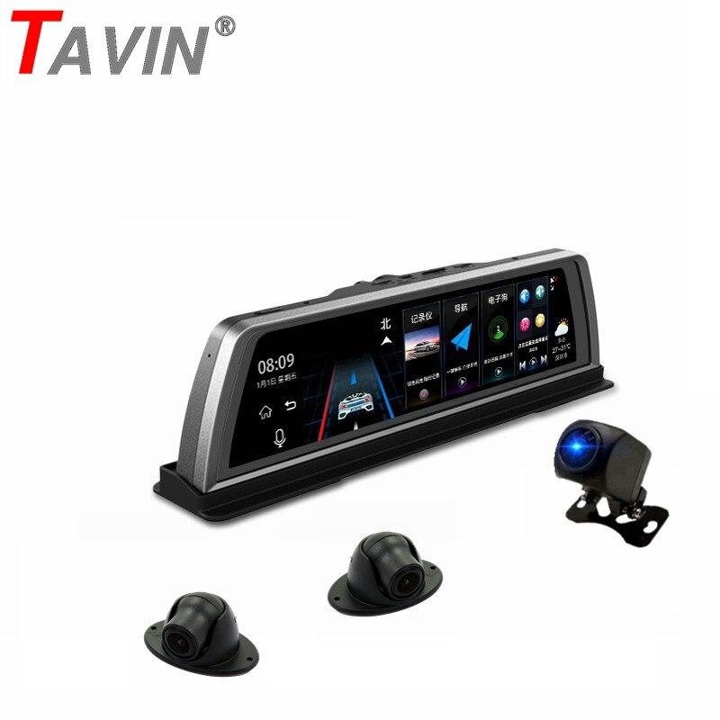 TAVIN 4 Lente Câmeras 4G ADAS dvr Carro Android 5.1 GPS Traço cam wi-fi 10 polegada Tela Sensível Ao Toque de 360 graus de visão Noturna gravador de vídeo