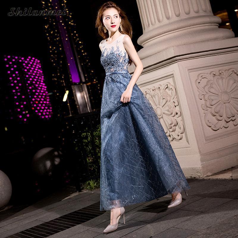 In Moda xxl Abiti Senza Blu Di Femminile Vintage Maniche Donne Paillettes Vestito Delle Xs Lungo Sera Colore Abito Alla Partito Modo Grigio Bq1vgcvW