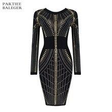 Новое поступление, сексуальное элегантное модное платье с бусинами, украшенное длинными рукавами, Сетчатое лоскутное платье средней длины, вечернее Бандажное платье знаменитостей