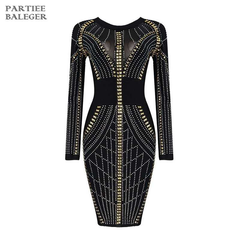 3e4f4f975ab03 2019 New Arrival Sexy Elegant Fashion Beads Embellished Long Sleeves Mesh  Patchwork Midi Celebrity Evening Party