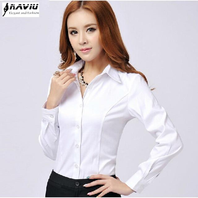e56f8377ed6 New Fashion women white Twill shirt female long sleeve V-neck plus size  office blouses OL formal work wear tops blusas