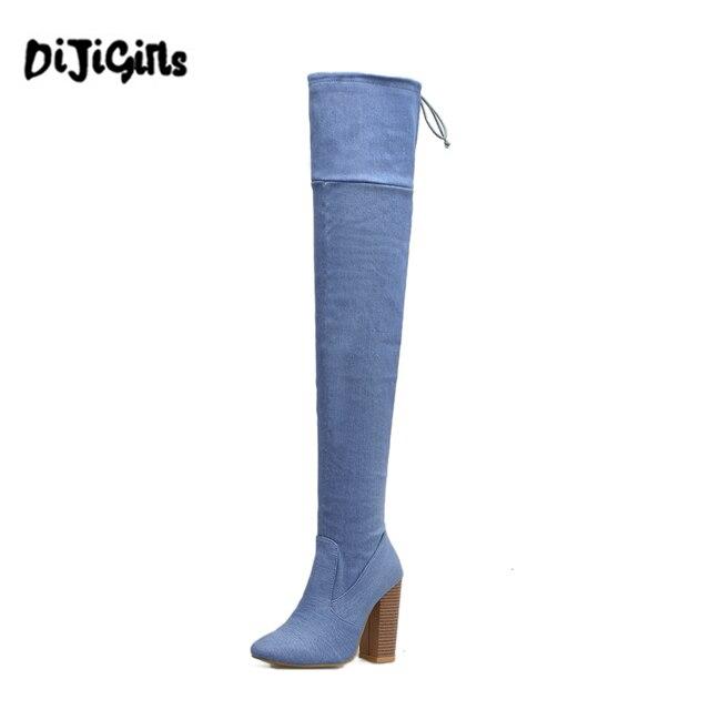 72bb662e1 Tacones altos botas Sobre la Rodilla Botas de baile de Moda de damas Vaquera  sexy muslo
