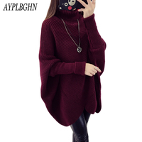 Women Autumn Winter Sweater Knitted Tops Loose Turtleneck Long Sleeve Sexy Lady Bodycon Batwing Sweater Pullover Vestidos 5L94