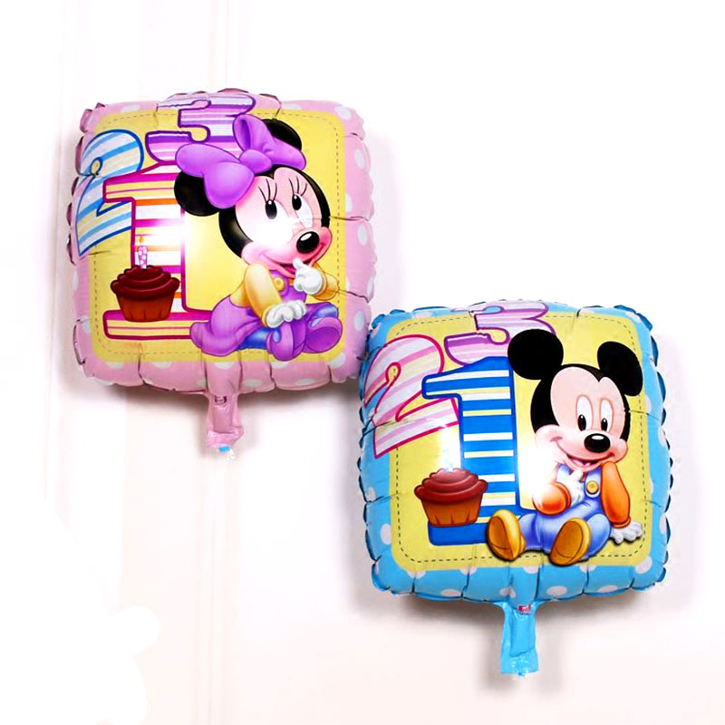 New 18Inch Square Mickey balloons inflatable air balls for mickey mouse party Party Decoration globos birthday Birthday balllon in Ballons Accessories from Home Garden
