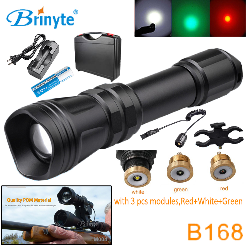 Brinyte B168 Waterproof Zoom XM-L2 U4 LED Hunting Flashlight Torch with RED GREEN WHITE Module Gun Mount Remote Switch 18650 powerful led flashlight 1503 cree q5 zoom 3 modes auminum alloy lantern white red green light charger gun mount rat tail