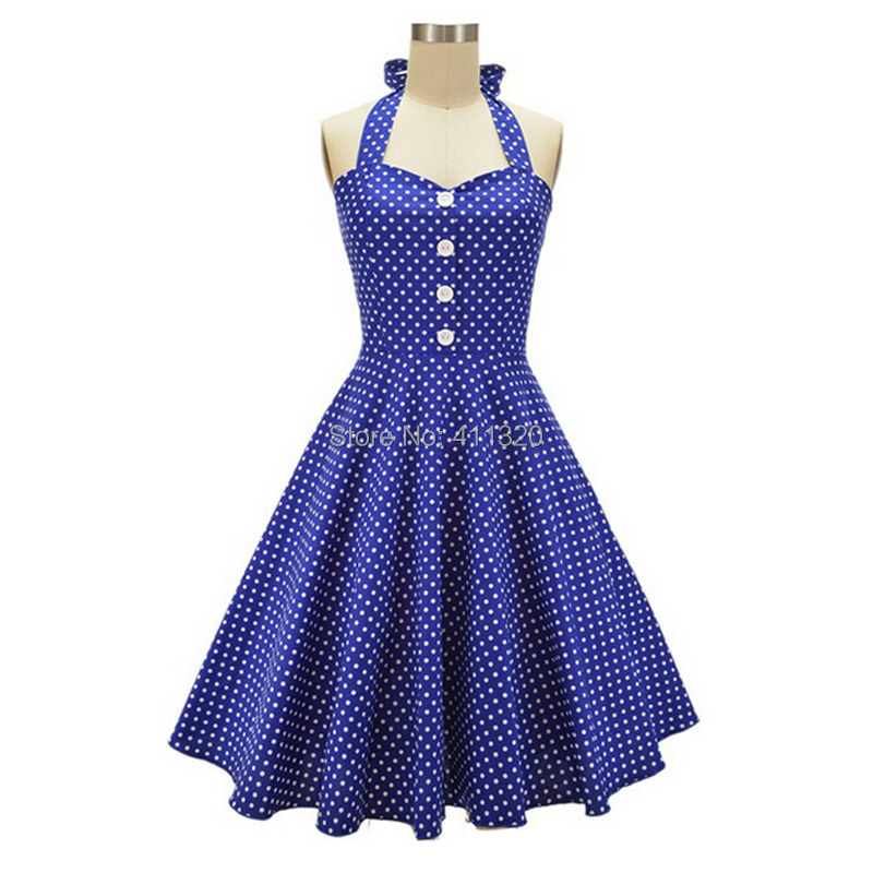 V215 2015 Womens Halter Backless Polka Dots 1940s 50s 60s Vintage Retro Style Rockabilly Pin up Swing Summer Casual Party Dresses (4).jpg