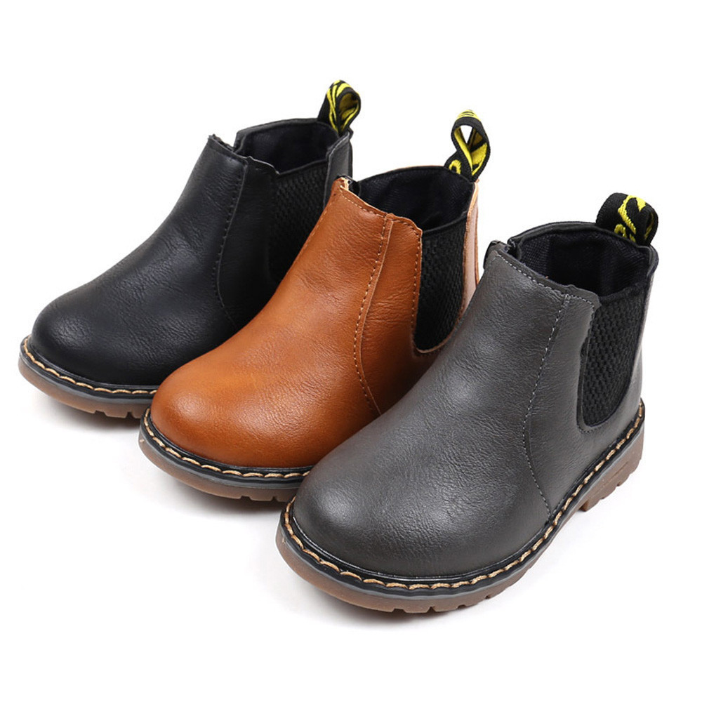 Children Boys Girls Shoes Leather Martin Sneaker Kids Winter Casual Snow Boots Child Booties Baby Toddler Shoe Anti-Slip BFOF