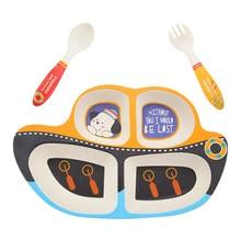 Детские столовые приборы, 3 шт., мультяшная сетка, Детская вилка, ложка, детская посуда для кормления, бамбуковое волокно, набор детской посуды