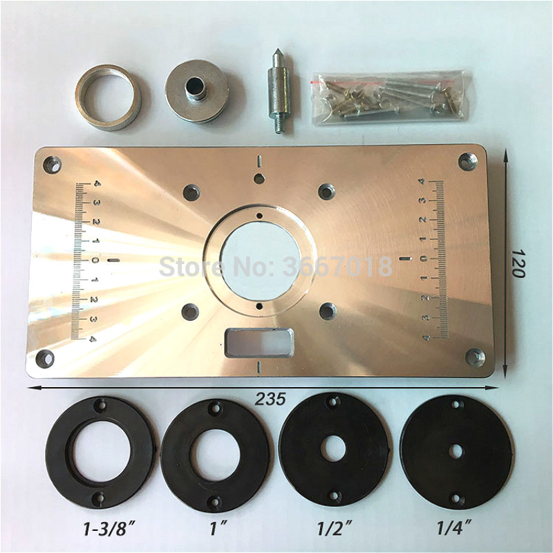 Aluminum Alloy Wood Router Table Insert Plate With 4pcs Router Insert Rings Wood Router Tools For Woodworking