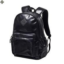 Fashion men backpack Women  PU Leather Backpack School Bag Travel Bookbag Casual 15» Laptop Bags Female Rucksack new 2019