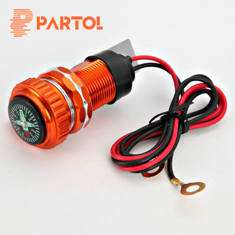 652c16a82ce Partol Universal naranja bici de la motocicleta del manillar USB cargador de  MP3 teléfono celular PDA adaptador USB con brújula opción 12 V 12 V