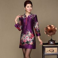 Chinese Silk Dresses Middle Age Women Autumn 2018 New V-neck Flowers Print Cheongsam Dress Mother Plus Size Clothing C882