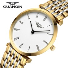 Luxury Brand GUANQIN Full Stainless Steel Men Warch Quartz Dress Wrist watches Waterproof Male Business Watches