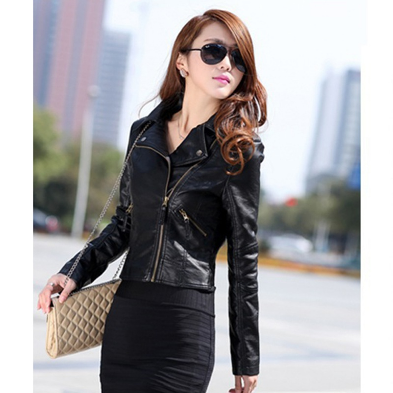 New Fashion Women Motorcycle PU   Leather   Jacket Stylish Coat Hot Long Sleeve Outwear Casual Slim Brand Zipper Tops