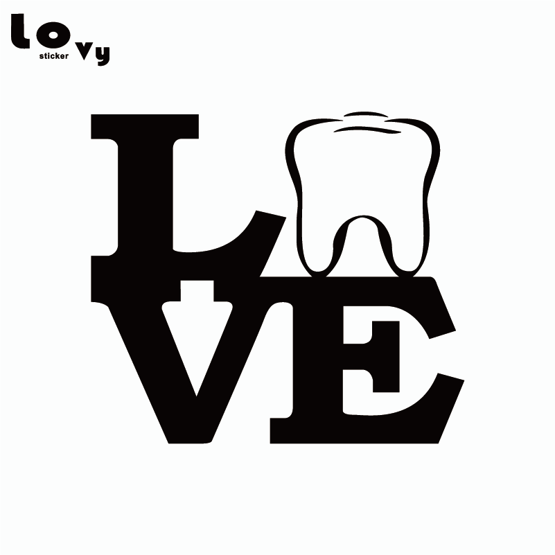 Love Tooth Vinyl Car Sticker Funny Dental Art Car Decal For Car Window Door Body Decoration CA0254