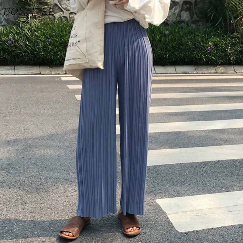 Pants   Women Summer Korean Style Chic Solid All-match Casual Womens Capris High Quality Pleated Trendy Ladies Loose   Wide     Leg     Pant