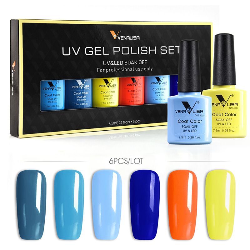 VENALISA Nail Varnish Kit New Arrival 6pcs*7.5ml Soak Off Gel Lacquer LED UV Gel Polish Colorful Manicure Nail Gel Polish Set