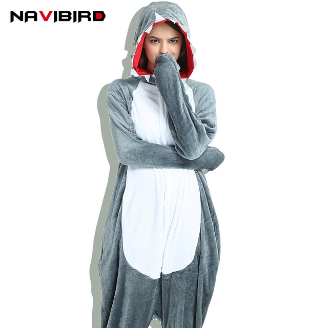 27ff9f01e9 New Autumn Adult Kigurumi Panda Party Women Animal Shark Cat Pajama Onesie  Men Sleepwear Home Hooded