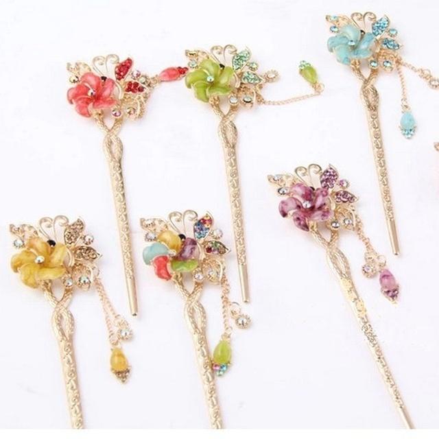 Crystal Rhinestone Flower Hair Stick