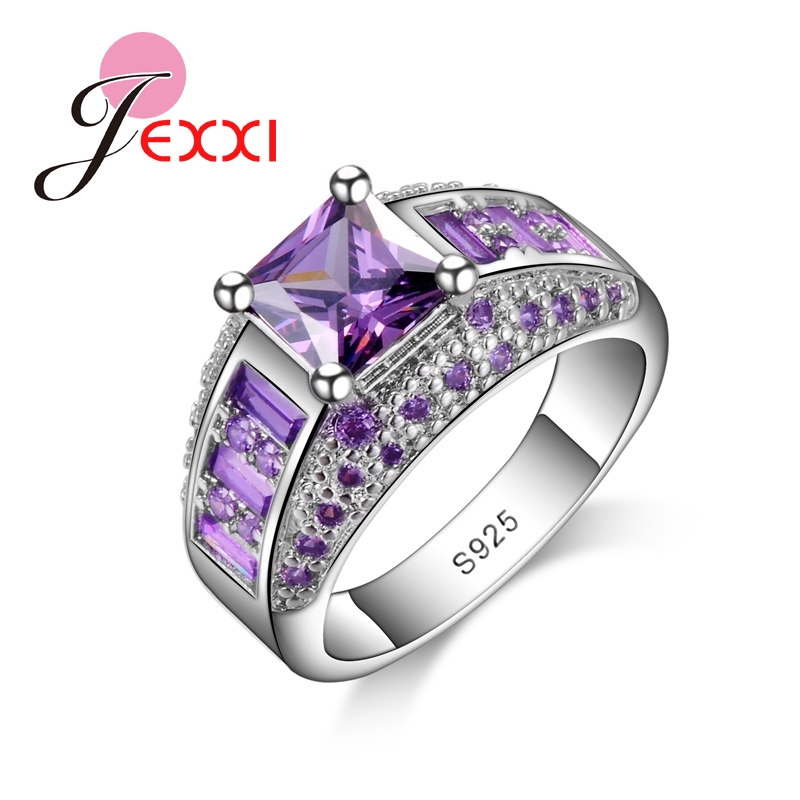 JEXXI Hot New Bridal Jewelry Elegant Princess Cut Pink CZ 925 Sterling Silver Wedding Engagement Rings For Women