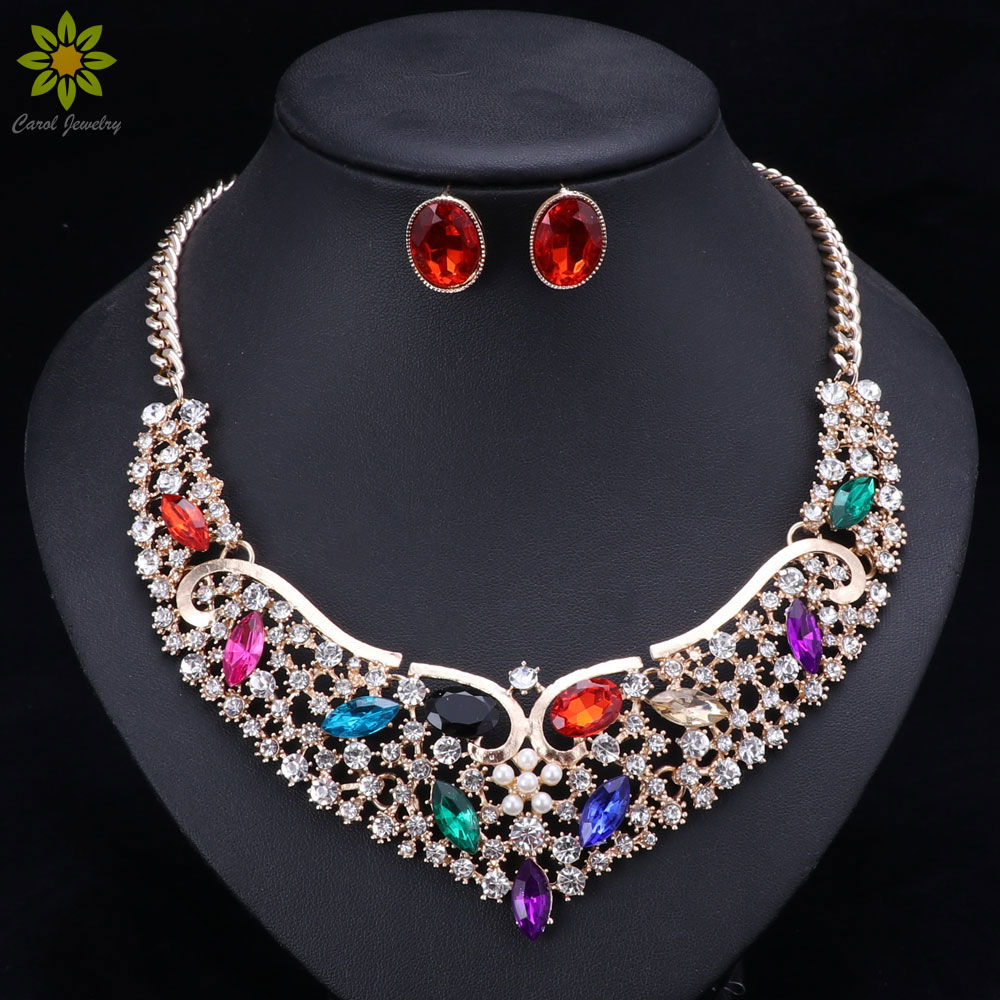 Šperky sady pro ženy jemné africké korálky zlaté barvy svatební Crystal přívěsky náhrdelník náušnice sada svatební šperky