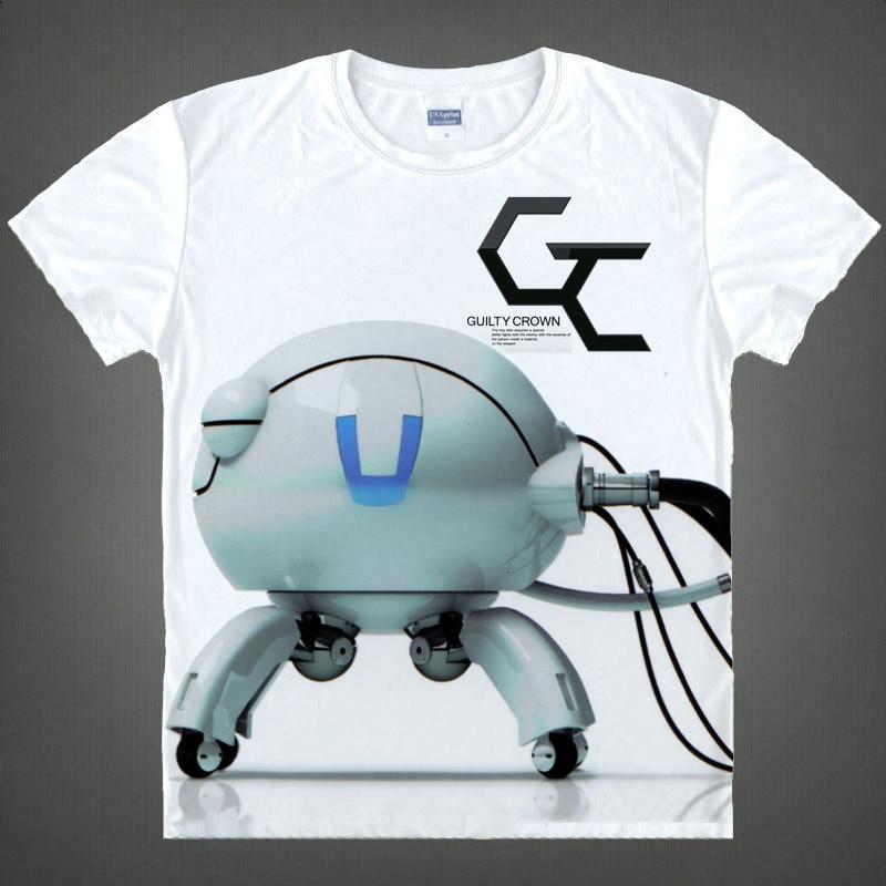 Guilty Crown Шу ума Inori Новое лето животных Футболка 3D печатных Для мужчин персонажи аниме футболка с короткими рукавами Футболки Camisetas - Цвет: Коричневый