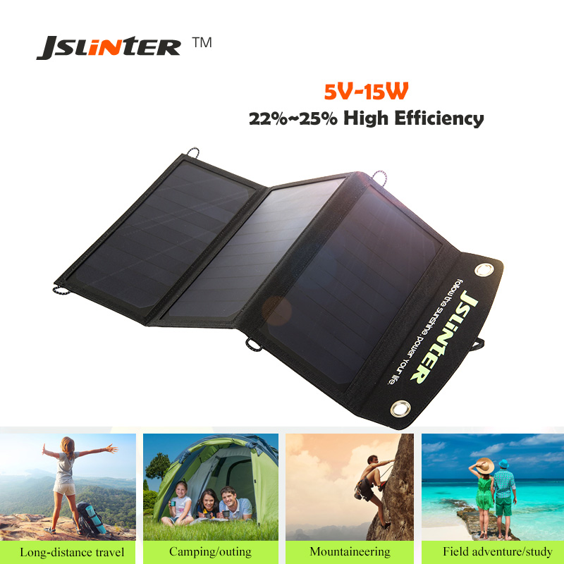 ФОТО Jslinter 5V 15W Portable Flexible Solar Panel Phone Charger Outdoors Wireless Solar Cell Charger for cellphone and more