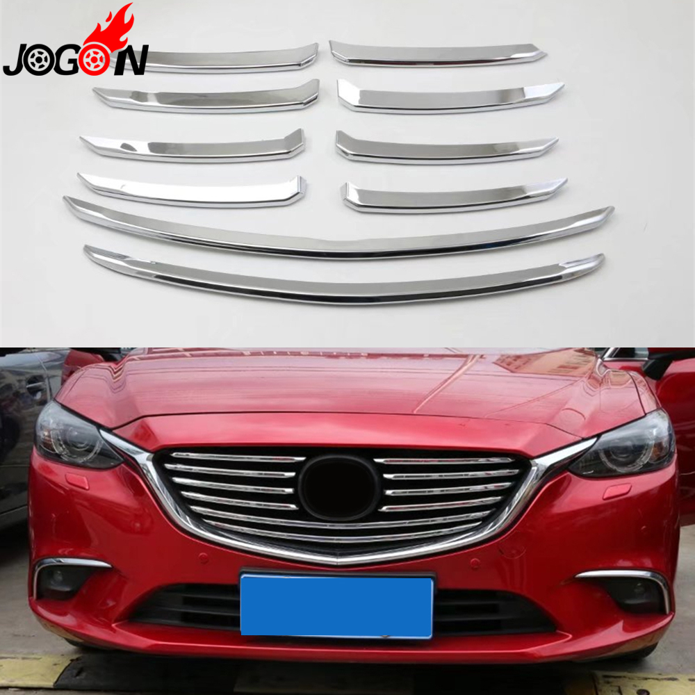 For Mazda 6 Mazda6 M6 Atenza 2017 Car Front Center Grille Trim Grill Molding Cover ABS Glossy Silver 10PCS chrome front hood grill cover trim for 2014 2015 mazda 6 atenza