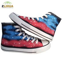 JUP 13 Styles Harajuku Luminous Fluorescent Galaxy For Children Kids Student Shoes Same Paragraph hand painted Canvas Shoes Boys