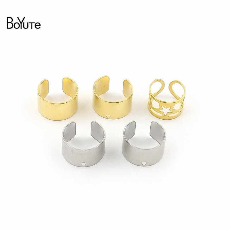 Boyute 10 Potongan/Lot) Sederhana Plain Logam Kuningan Stainless Steel Manset Telinga Anting-Anting Perhiasan Adjustable Telinga Manset