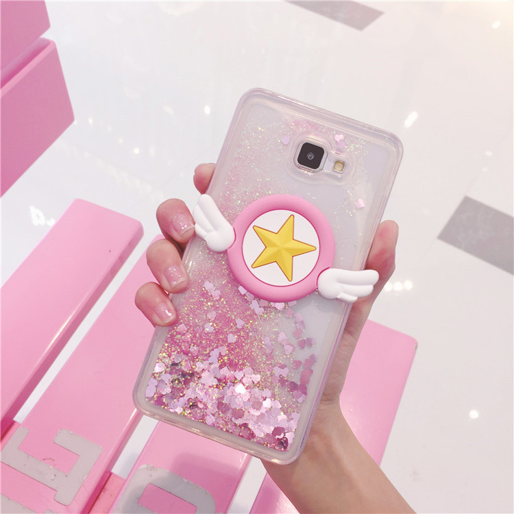 Fast Deliver Case For Samsung A5 A7 2017 A6 A8 2018 Capa Bling Bling Cute Heart-shaped Quicksand Soft Coque Angel Wings Phone Case Fundas Cheap Sales 50% Half-wrapped Case