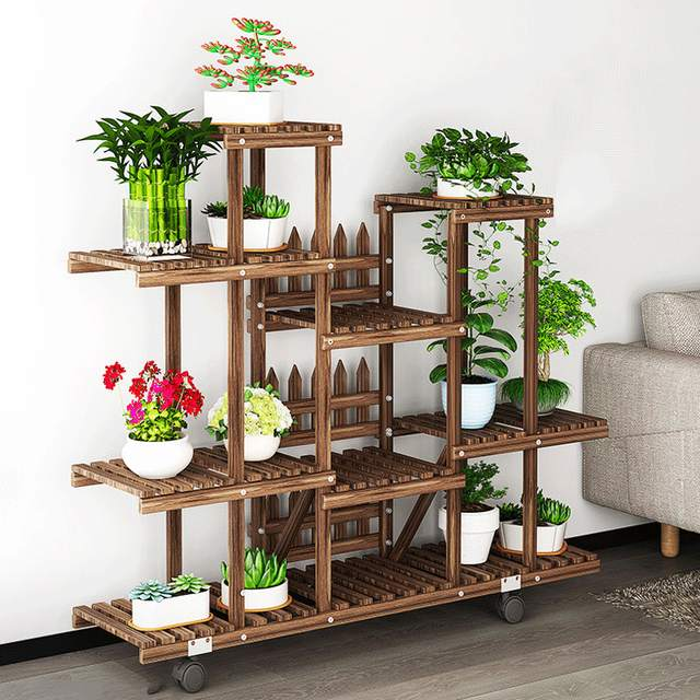 Placeholder Flower Rack Plant Stand Multi Wood Shelves Bonsai Display Shelf Indoor Outdoor Yard Garden Patio