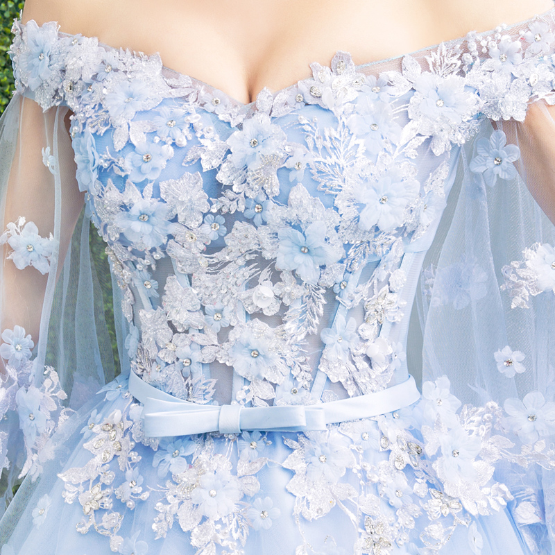 Walk Beside You Blue Sweet 16 Dresses Ball Gowns Quinceanera Dresses 3/4 Sleeves Floral Lace Applique Dress for Masquerade - 5
