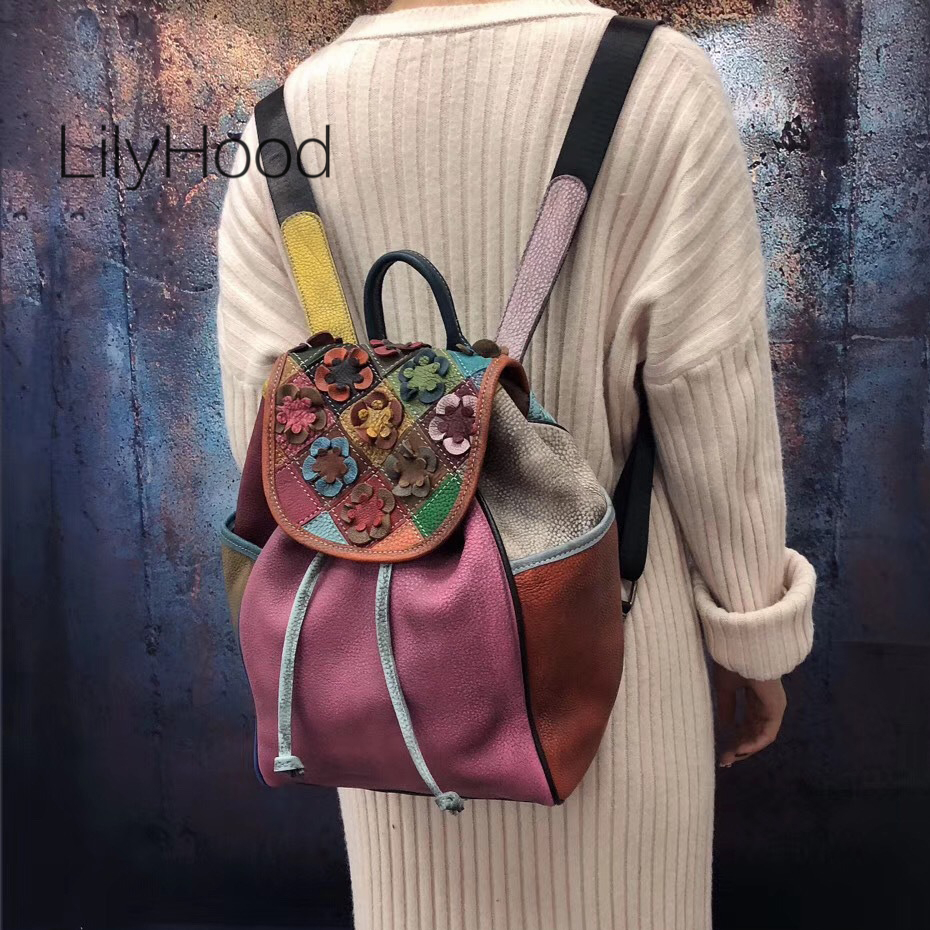 Patchwork Floral Backpack Women High Quality Genuine Leather Drawstring Packsack Female Natural Leather Patchwork Feminine Bag