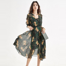 Silk Women Dress Lady Office Print Half Sleeve Dresses Summer V-Neck Elegant Sexy Dress Fashion Regular Cuff Casual Long Dress недорого