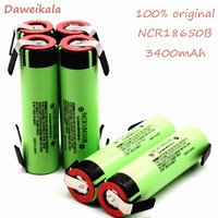 10PCS original NCR18650B 3.7V 3400mAh 18650 rechargeable lithium battery 18650 battery + DIY nickel piece