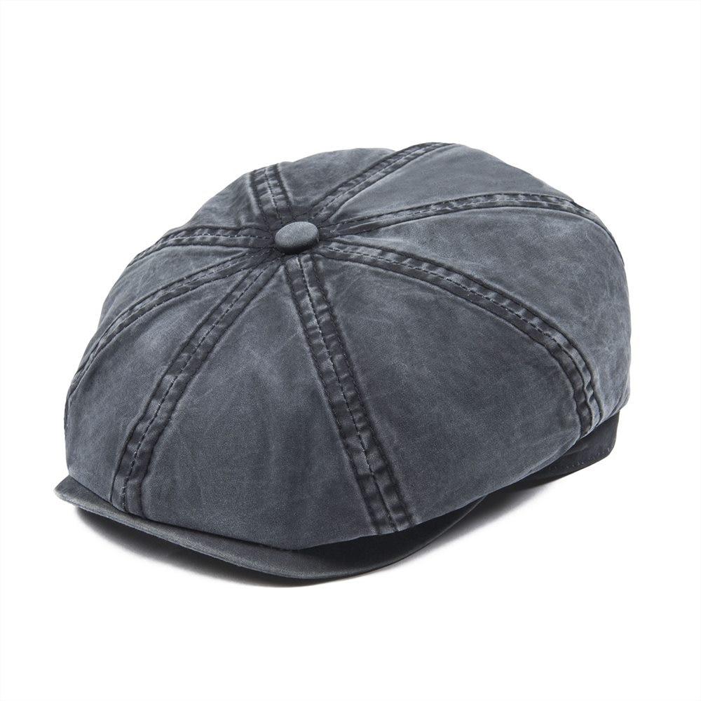 Men's Newsboy Caps Voboom Navy Blue Washed Cotton Newsboy Cap Men Women 8 Panel Flat Caps Driver Baker Boy Hat Sun Protection Gatsby Beret Hats 160 Men's Hats
