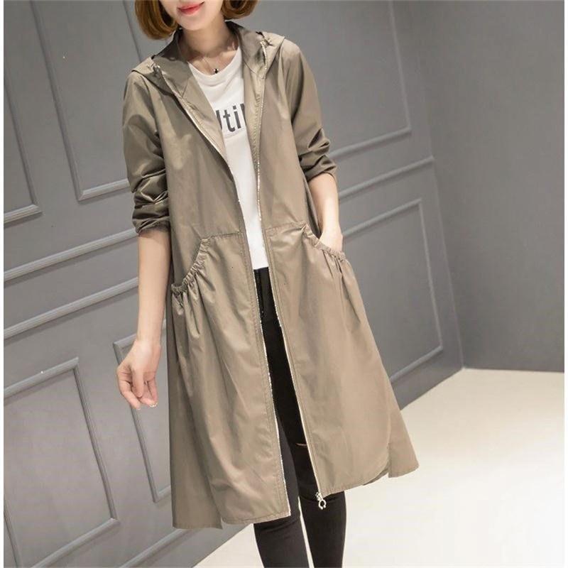 2019 Spring Autumn New Long Trench Coat Women Hooded Korean Outerwear women Loose Plus size Thin Windbreaker Ladies coats 3XL4XL