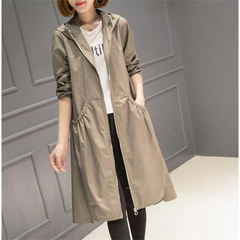2019 Spring Autumn New Long   Trench   Coat Women Hooded Korean Outerwear women Loose Plus size Thin Windbreaker Ladies coats 3XL4XL