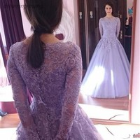 Elegant Light Purple Evening Dress Dubai Lace Long Sleeves Ball Gown Ladies Formal Gown For Bridal Wedding Party Robe De Soiree